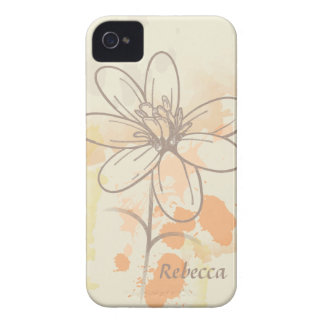 Sketched flower on watercolor paint splats iPhone 4 covers