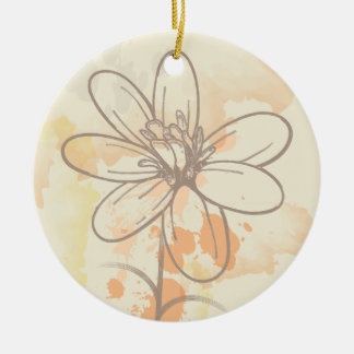 Sketched flower on watercolor paint splats christmas ornaments