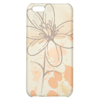 Sketched flower on watercolor paint splats iPhone 5C cover