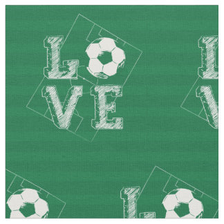 Sketched Love Soccer Fabric