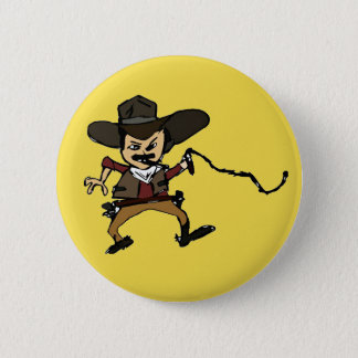 sketched smoking cowboy 6 cm round badge