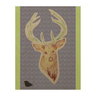 Sketched Stag Wooden Poster. change colour Wood Prints