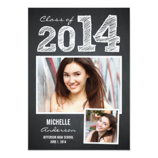 "Sketched Year Graduation Invitation - Chalkboard 5"" X 7"" Invitation Card"