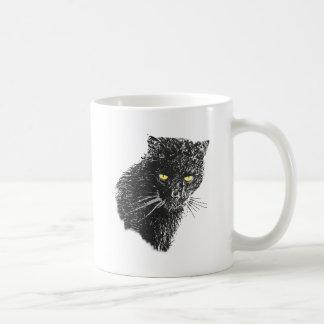 sketchy black cat basic white mug