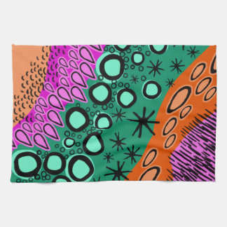 Sketchy Bright Geometric Shape Pattern Tea Towel