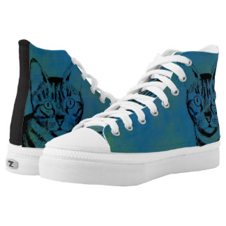 Sketchy Cat on Blue High Tops