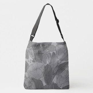 sketchy floral contempory original art design crossbody bag