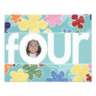 Sketchy Flowers Fourth Birthday Party Teal Custom Invite