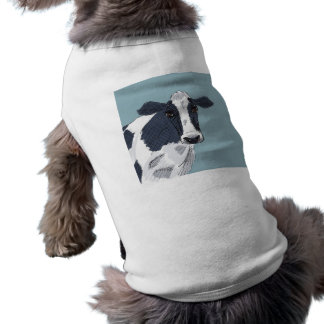 Sketchy Painted Cow in Blue Tones Sleeveless Dog Shirt