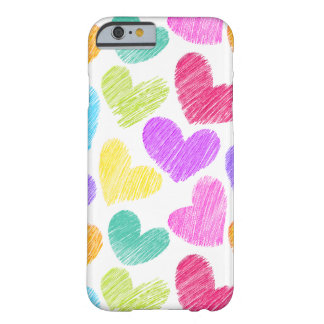 Sketchy pastel love hearts pattern barely there iPhone 6 case