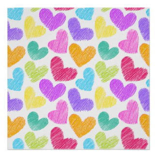 Sketchy pastel love hearts pattern poster