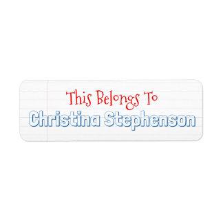 Sketchy Personalized Name School Classroom Sticker Return Address Label
