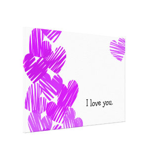 """Sketchy purple Hearts """"I love you"""" Wrapped Canvas Stretched Canvas Print"""