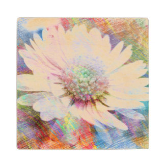 Sketchy Rainbow Daisy Wood Coaster