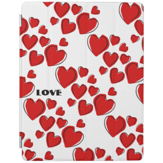 Sketchy Red Heart Pattern Optional Love Word iPad Cover
