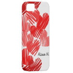 Sketchy Red hearts with name iPhone 5 Case