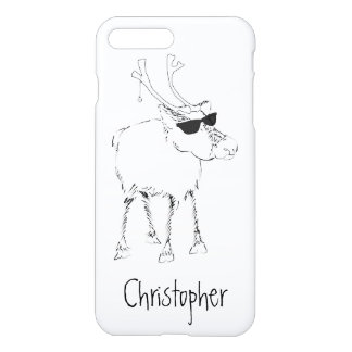 Sketchy Reindeer with Sunglasses and Jingle Bell iPhone 7 Plus Case