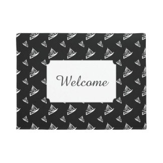Sketchy Sailboat Pattern | Add Your Text Doormat