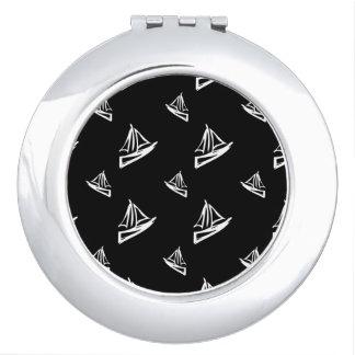 Sketchy Sailboat Pattern Travel Mirror