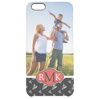 Sketchy Sailboat Pattern| Your Photo & Monogram Clear iPhone 6 Plus Case