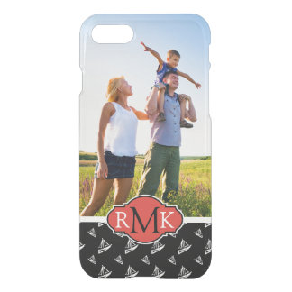 Sketchy Sailboat Pattern| Your Photo & Monogram iPhone 8/7 Case