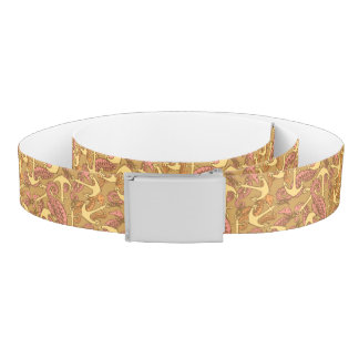 Sketchy Seahorse And Anchor Pattern Belt