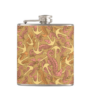 Sketchy Seahorse And Anchor Pattern Hip Flask