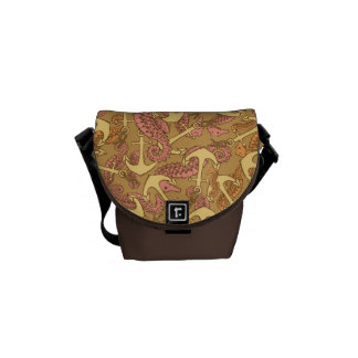 Sketchy Seahorse And Anchor Pattern Messenger Bag