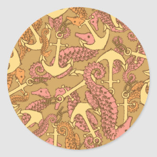 Sketchy Seahorse And Anchor Pattern Round Sticker