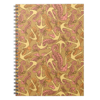 Sketchy Seahorse And Anchor Pattern Spiral Note Books