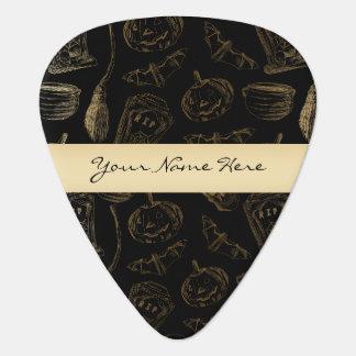 Sketchy Spooky Gold on Black Halloween Guitar Pick
