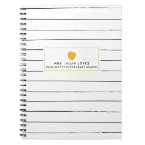 Sketchy Stripes Golden Apple Teacher Notebook