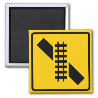 Skewed Rail Crossing Highway Sign Magnet