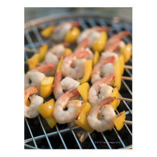 Skewer with grilled shrimps and pepper Sweden. Postcard