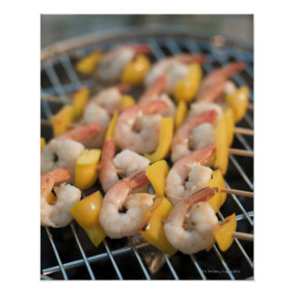 Skewer with grilled shrimps and pepper Sweden. Poster