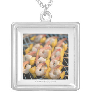 Skewer with grilled shrimps and pepper Sweden. Silver Plated Necklace
