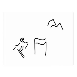 ski alpine ski drivers postcard
