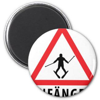 Ski Anfänger Warnschild icon 6 Cm Round Magnet