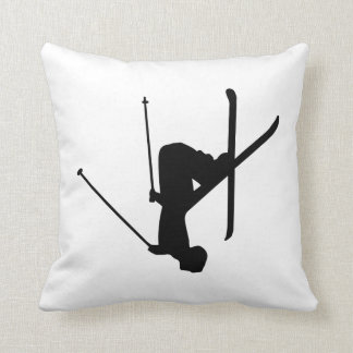 Ski Black Silhouette Cushion