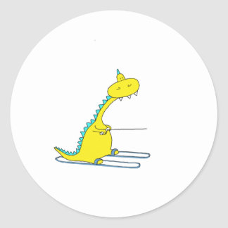 ski dino round sticker