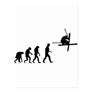 ski evolution icon postcard