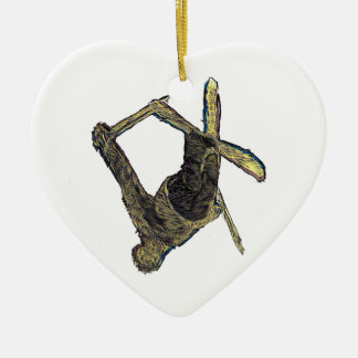 Ski Extreme Ceramic Heart Decoration