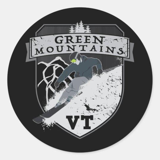 Ski Green Mountains, VT Classic Round Sticker