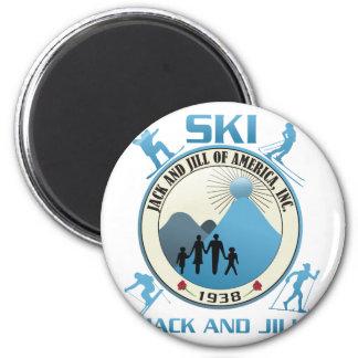 Ski Jack and Jill Blue Stuff Magnet