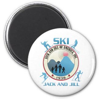 Ski Jack and Jill Pink Stuff Fridge Magnet