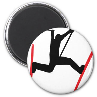 ski jump icon 6 cm round magnet