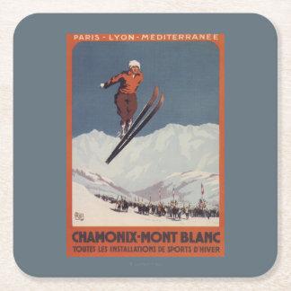 Ski Jump - PLM Olympic Promo Poster Square Paper Coaster