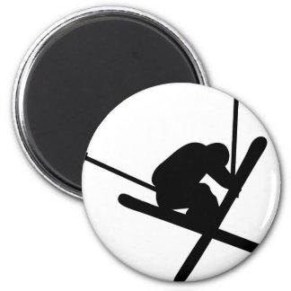 ski jump skiing 6 cm round magnet
