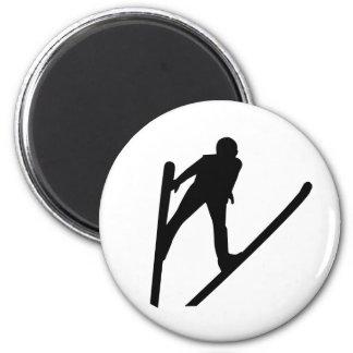 Ski jumper jumping magnets