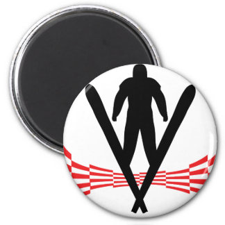 ski jumper jumping skiing icon 6 cm round magnet